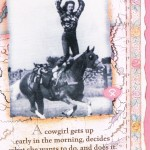 Cowgirl Standing on Horse