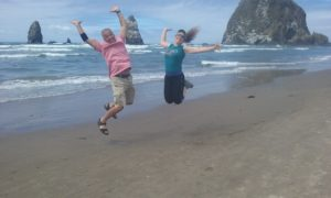 Leaping at Haystack Rock
